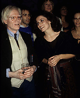 Warhol Trudeau3733.JPG<br /> New York, NY 1978 FILE PHOTO<br /> Andy Warhol & Margaret Trudeau; Studio 54<br /> Digital photo by Adam Scull-PHOTOlink.net<br /> ONE TIME REPRODUCTION RIGHTS ONLY<br /> NO WEBSITE USE WITHOUT AGREEMENT<br /> 718-487-4334-OFFICE  718-374-3733-FAX