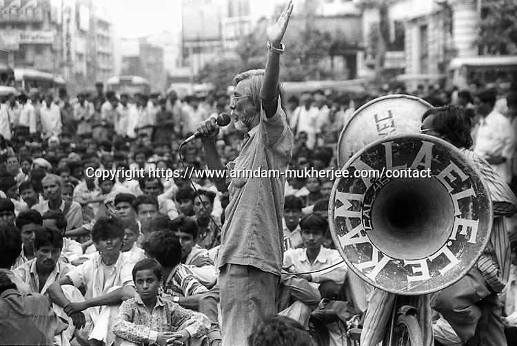 A political meeting in Kolkata, India.