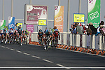 Tom Boonen (BEL) Omega Pharma-Quick Step leads the sprint across the finish line of the 1st Stage of the 2012 Tour of Qatar running from Umm Slal Mohammed to Doha Golf Club, Doha, Qatar, 5th February 2012 (Photo Eoin Clarke/Newsfile)