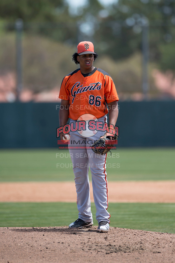 San Francisco Giants Orange starting pitcher Johan Herrera (86) during an Extended Spring Training game against the Oakland Athletics at the Lew Wolff Training Complex on May 29, 2018 in Mesa, Arizona. (Zachary Lucy/Four Seam Images)