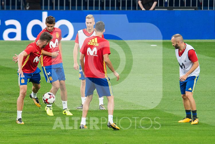 Saul Niguez, Alvaro Morata, Gerard Deulofeu and Andres Iniesta during Spain training session at Santiago Bernabeu Stadium in Madrid, Spain September 01, 2017. (ALTERPHOTOS/Borja B.Hojas)