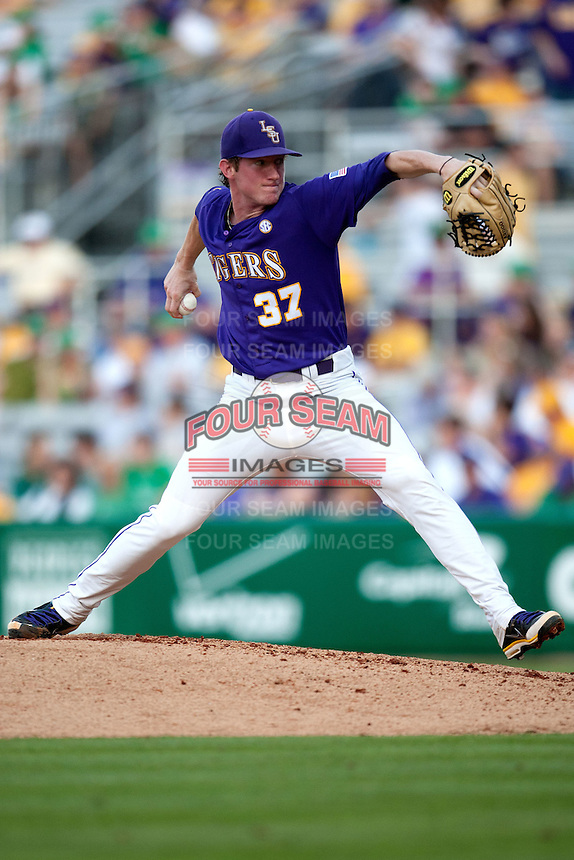 LSU Tigers pitcher Ryan Eades #37 delivers against the Mississippi State Bulldogs during the NCAA baseball game on March 17, 2012 at Alex Box Stadium in Baton Rouge, Louisiana. The 10th-ranked LSU Tigers beat #21 Mississippi State, 4-3. (Andrew Woolley / Four Seam Images).