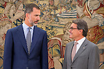 King Felipe VI of Spain and the President of the Government of Cataluña, Artur Mas during Royal Audience at Zarzuela Palace in Madrid, Spain. July 17, 2015.<br />  (ALTERPHOTOS/BorjaB.Hojas)