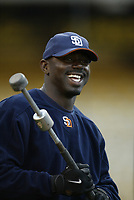 Rondell White of the San Diego Padres during a 2003 season MLB game at Dodger Stadium in Los Angeles, California. (Larry Goren/Four Seam Images)