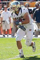 Akron running back Conor Hundley (34). The Akron Zips Defeated the Pitt Panthers 21-10 at Heinz Field, Pittsburgh. Pennsylvania on September 27, 2014.
