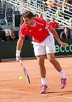 15-09-12, Netherlands, Amsterdam, Tennis, Daviscup Netherlands-Suisse, Doubles, Stanislas Wawrinka.