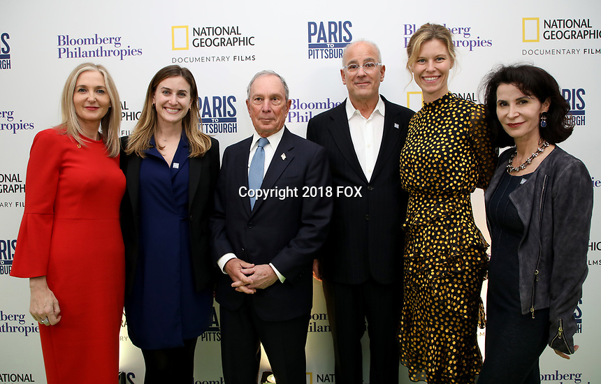 """LONDON, UK - DECEMBER 11: Deborah Armstrong, Lindsay Firestone, Michael Bloomberg, Jon Kamen, Antha Williams and Katherine Oliver attend the London Premiere of Bloomberg and National Geographic's """"Paris to Pittsburgh"""" at the BAFTA Theatre on December 11, 2018 in London, UK. (Photo by Vianney Le Caer/National Geographic/PictureGroup)"""