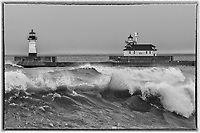North and South Pier Lighthouses<br /> Waves and spray relentlessly rolled toward Duluth's shores throughout the storm.