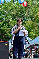 Montreal (Qc) CANADA - August 13, 2011 -Mary Deros, conseillère de la Ville du district de Parc-Extension depuis 1998 et présidente du conseil consultatif d'urbanisme de l'arrondissement  a précisé que ''La ville de  Montreal est fière de s'associer au Festival dans le cadre de sa 10ième édition'' et que ''Si Montréal est devenu une métropole d'importance c'est grace aux centaine de festivals et d'événement qui se déroulent annuellement à Montréal''