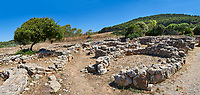 Pictures and image of the exterior ruins of Palmavera round prehistoric Nuragic village archaeological site, middle Bronze age (1500 BC), Alghero, Sardinia.