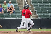 Alex Call (2) of the Kannapolis Intimidators follows through on his swing against the Charleston RiverDogs at Kannapolis Intimidators Stadium on August 3, 2016 in Kannapolis, North Carolina.  The Intimidators defeated the RiverDogs 8-4.  (Brian Westerholt/Four Seam Images)