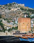 Turkey, Province Antalya, holiday resort Alanya: Red Tower and fortress