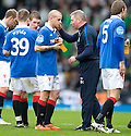 :: RANGERS ASSISTANT MANAGER ALLY MCCOIST HAS A WORD WITH RANGERS' VLADIMIR WEISS DURING THE HALF TIME BREAK IN EXTRA TIME ::