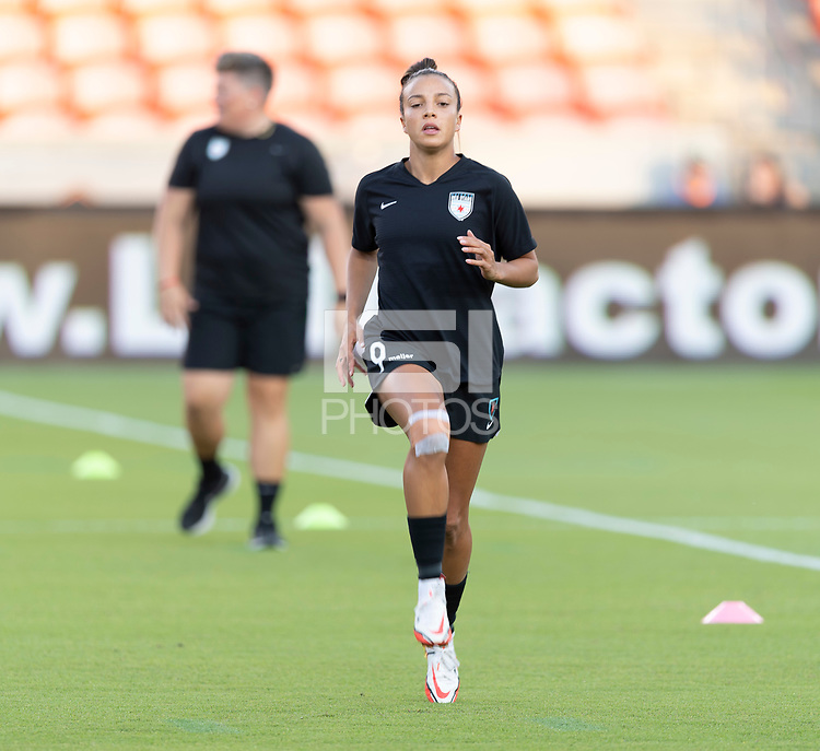 HOUSTON, TX - SEPTEMBER 10: Mallory Pugh #9 of the Chicago Red Stars warming up before a game between Chicago Red Stars and Houston Dash at BBVA Stadium on September 10, 2021 in Houston, Texas.