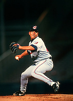 Bartolo Colon of the Cleveland Indians during a game at Anaheim Stadium in Anaheim, California during the 1997 season.(Larry Goren/Four Seam Images)