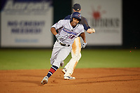 Jacksonville Jumbo Shrimp Magneuris Sierra (18) running the bases during a Southern League game against the Mobile BayBears on May 7, 2019 at Hank Aaron Stadium in Mobile, Alabama.  Mobile defeated Jacksonville 2-0.  (Mike Janes/Four Seam Images)