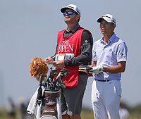 16th July 2021; Royal St Georges Golf Club, Sandwich, Kent, England; The Open Championship Tour Golf, Day Two; Collin Morikawa (USA) with his caddie on the 15th hole