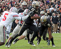 Purdue wide receiver Aaron Valentin scores on a 23-yard TD reception. The Purdue Boilermakers defeated the Ohio State Buckeyes 26-18 at Ross-Ade Stadium, West Lafayette, Indiana on October 17, 2009..