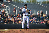 Peoria Javelinas relief pitcher Daniel Brown (49), of the Milwaukee Brewers organization, gets ready to deliver a pitch during the Arizona Fall League Championship Game against the Salt River Rafters at Scottsdale Stadium on November 17, 2018 in Scottsdale, Arizona. Peoria defeated Salt River 3-2 in 10 innings. (Zachary Lucy/Four Seam Images)