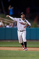 Tri-City ValleyCats third baseman Juan Pineda (10) throws to first base during a game against the Vermont Lake Monsters on June 16, 2018 at Joseph L. Bruno Stadium in Troy, New York.  Vermont defeated Tri-City 6-2.  (Mike Janes/Four Seam Images)