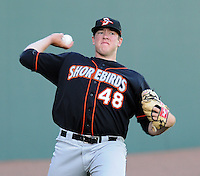 RHP Matt Hobgood (48) of the Delmarva Shorebirds, Class A affiliate of the Baltimore Orioles, prior to his first Class A start against the Greenville Drive April 10, 2010, at Fluor Field at the West End in Greenville, S.C. Hobgood was the Orioles' No. 1 pick (fifth overall) in the 2009 First-Year Player Draft. Photo by: Tom Priddy/Four Seam Images