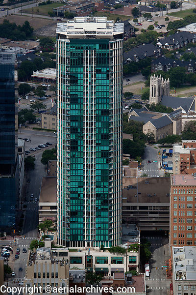 aerial photograph of The Tower, Fort Worth, Texas, formerly known as Block 82 Tower, the tallest residential tower in Fort Worth