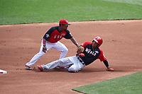 Team USA second baseman Tony Kemp (7) tags  Ketel Marte (7) out during the MLB All-Star Futures Game on July 12, 2015 at Great American Ball Park in Cincinnati, Ohio.  (Mike Janes/Four Seam Images)