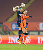 BREDA, NETHERLANDS - NOVEMBER 27: Julie Ertz #8 of the USWNT goes up for a header during a game between Netherlands and USWNT at Rat Verlegh Stadion on November 27, 2020 in Breda, Netherlands.