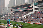 HONG KONG - DECEMBER 12:  Riders compete at the Hong Kong Mile during the Cathay Pacific International Races at the Sha Tin Racecourse on December 12, 2010 in Hong Kong, Hong Kong. Photo by Victor Fraile / The Power of Sport Images