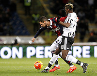 Calcio, Serie A:  Bologna vs Juventus. Bologna, stadio Renato Dall'Ara, 19 febbraio 2016. <br /> Bologna's Mattia Destro, left, is challenged by Juventus' Paul Pogba during the Italian Serie A football match between Bologna and Juventus at Bologna's Renato Dall'Ara stadium, 19 February 2016.<br /> UPDATE IMAGES PRESS/Isabella Bonotto