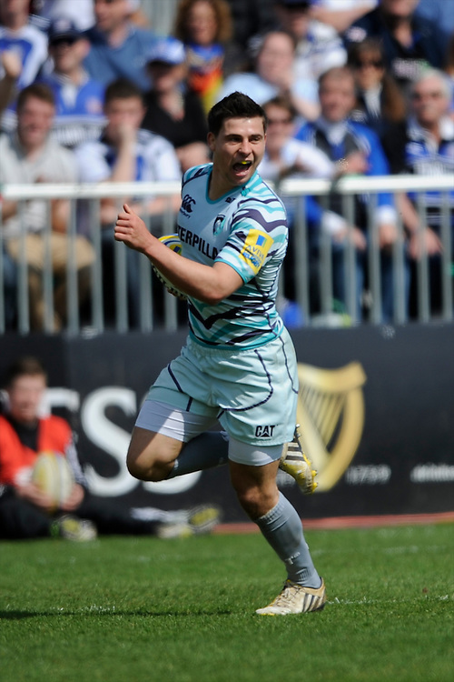 Ben Youngs of Leicester Tigers runs in a try during the Aviva Premiership match between Bath Rugby and Leicester Tigers at The Recreation Ground on Saturday 20th April 2013 (Photo by Rob Munro)