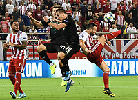 Olympiakos's Valbuena try to shoot during the UEFA Champions League playoff first leg soccer match between Olympiakos and Krasnodar at Karaiskaki stadium in Piraeus, Greece, on 21 August 2019