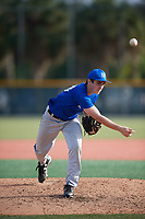 Matthew Walker (23), from Jefferson, Maryland, while playing for the Dodgers during the Baseball Factory Pirate City Christmas Camp & Tournament on December 28, 2017 at Pirate City in Bradenton, Florida.  (Mike Janes/Four Seam Images)
