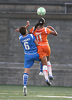 Amy LePeilbet (#6) of the Boston Breakers and Rosana (#11) of Sky Blue FC compete for a ball in the air. The Boston Breakers tied Sky Blue FC 0-0 on July 25, 2009.