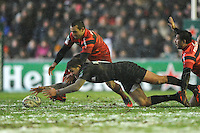Toby Flood of Leicester Tigers and Jean-Marc Doussain of Stade Toulousain dive for the loose ball during the Heineken Cup 6th round match between Leicester Tigers and Stade Toulousain at Welford Road on Sunday 20th January 2013 (Photo by Rob Munro).