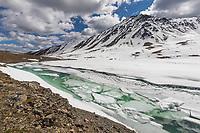 A mountain lake begins to melt in Oolah Pass, Brooks Range, Gates of the Arctic National Park, Alaska.