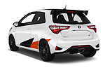 Car pictures of rear three quarter view of a 2018 Toyota Yaris GRMN 3 Door Hatchback angular rear