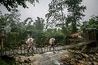 Two Red Dao villagers cross a foot bridge having come back from harvesting their black cardamom (thao qua) plots inside the forests of Hoang Lien Son National Park. This village is one of the few that make most of its annual income from black cardamom.
