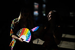 © Joel Goodman - 07973 332324 - all rights reserved . 25/08/2019. Manchester, UK. In temperatures exceeding 30 degrees centigrade , fans of Ariana Grande and other musical acts gather at Mayfield Depot ahead of performances this evening . Manchester's annual Gay Pride festival , which is the largest of its type in Europe , celebrates LGBTQ+ life . Photo credit : Joel Goodman