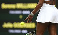 A close-up of Serena Williams (USA) during her match against Julia Goerges (GER) in their Ladies' Singles Third Round match<br /> <br /> Photographer Rob Newell/CameraSport<br /> <br /> Wimbledon Lawn Tennis Championships - Day 6 - Saturday 6th July 2019 -  All England Lawn Tennis and Croquet Club - Wimbledon - London - England<br /> <br /> World Copyright © 2019 CameraSport. All rights reserved. 43 Linden Ave. Countesthorpe. Leicester. England. LE8 5PG - Tel: +44 (0) 116 277 4147 - admin@camerasport.com - www.camerasport.com