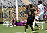 LOS ANGELES, CA - AUGUST 22: Kenneth Vermeer #1 GK of LAFC defending a loose ball during a game between Los Angeles Galaxy and Los Angeles FC at Banc of California Stadium on August 22, 2020 in Los Angeles, California.