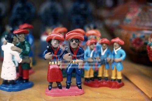 Pernambuco State, Brazil. Typical ceramic figures of Cangaceiro bandits from the Sertao region.