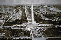 Panoramic view of the Lincoln Memorial and National Mall plan. Washington D.C.