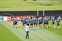 Bundestrainer Joachim Loew (Deutschland Germany) sieht seiner Mannschaft beim Warmlaufen zu - Seefeld 05.06.2021: Trainingslager der Deutschen Nationalmannschaft zur EM-Vorbereitung