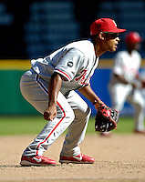 23 September 2007: Philadelphia Phillies third baseman Abraham Nunez in action against the Washington Nationals at Robert F. Kennedy Memorial Stadium in Washington, DC. The Nationals defeated the visiting Phillies 5-3 to close out the 2007 home season and the final game in baseball history at RFK Stadium. The Nationals will open up the 2008 season at Nationals Park, their new facility currently under construction.. .Mandatory Photo Credit: Ed Wolfstein Photo