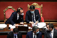 The Minister of Justice Alfonso Bonafede and the Italian Premier Giuseppe Conte during the information at the Senate about the government crisis.<br /> Rome(Italy), January 19th 2021<br /> Photo Pool Alessia Pierdomenico/Insidefoto