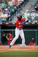 Buffalo Bisons center fielder Roemon Fields (37) bats during a game against the Indianapolis Indians on August 17, 2017 at Coca-Cola Field in Buffalo, New York.  Buffalo defeated Indianapolis 4-1.  (Mike Janes/Four Seam Images)