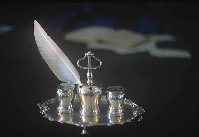 Syng Silver used to sign Declaration of Independence, Independence Hall, Philadelphia, Pennsylvania