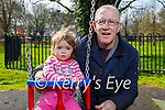 Fiadh Greensmyth with her granddad Thomas Coffey enjoying the playground in the Tralee town park on Thursday.
