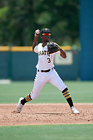 GCL Pirates shortstop Norkis Marcos (3) throws to first base during a Gulf Coast League game against the GCL Braves on July 30, 2019 at Pirate City in Bradenton, Florida.  GCL Braves defeated the GCL Pirates 10-4.  (Mike Janes/Four Seam Images)